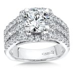 Caro74 Diamond Halo Engagement Ring in 14K White Gold with Platinum Head (2ct. tw.)