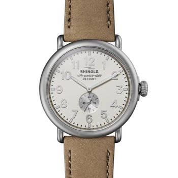 The Runwell 47mm Ivory Matte Dial Stainless Leather Strap Watch