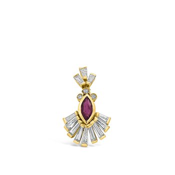 18K Yellow Gold Ruby Diamond Pendant