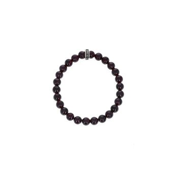 8Mm Garnet Plain Beaded Bracelet W/ Logo Ring