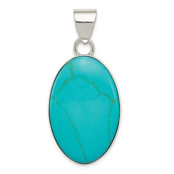 Sterling Silver Turquoise Polished Oval Pendant