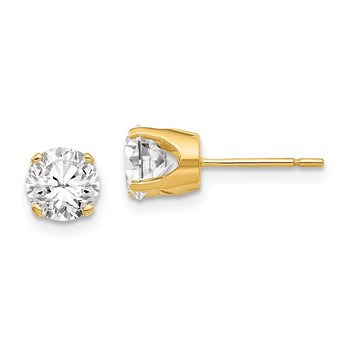 14k 5.75mm CZ stud earrings