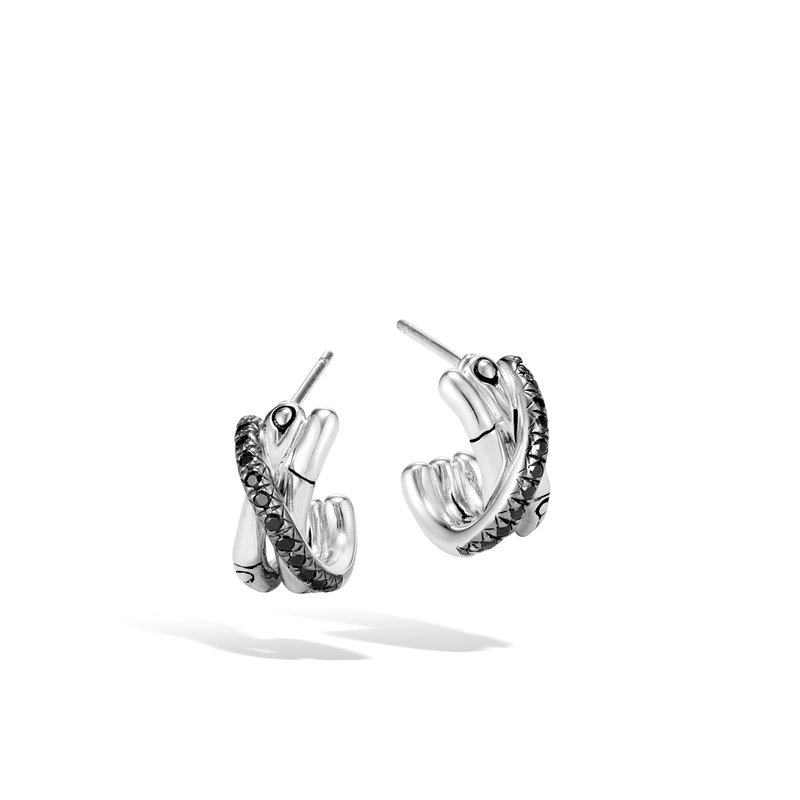 JOHN HARDY Bamboo J Hoop Earring in Silver with Gemstone