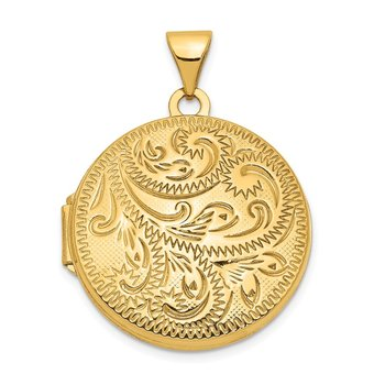14ky 20mm Round Scroll Hand Engraved Locket