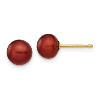 14k 6-7mm Coffee Button Freshwater Cultured Pearl Stud Post Earrings