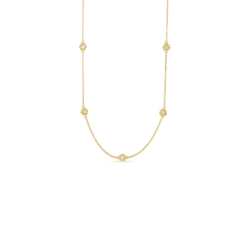 18KT GOLD LONG NECKLACE WITH ALTERNATING DIAMOND STATIONS