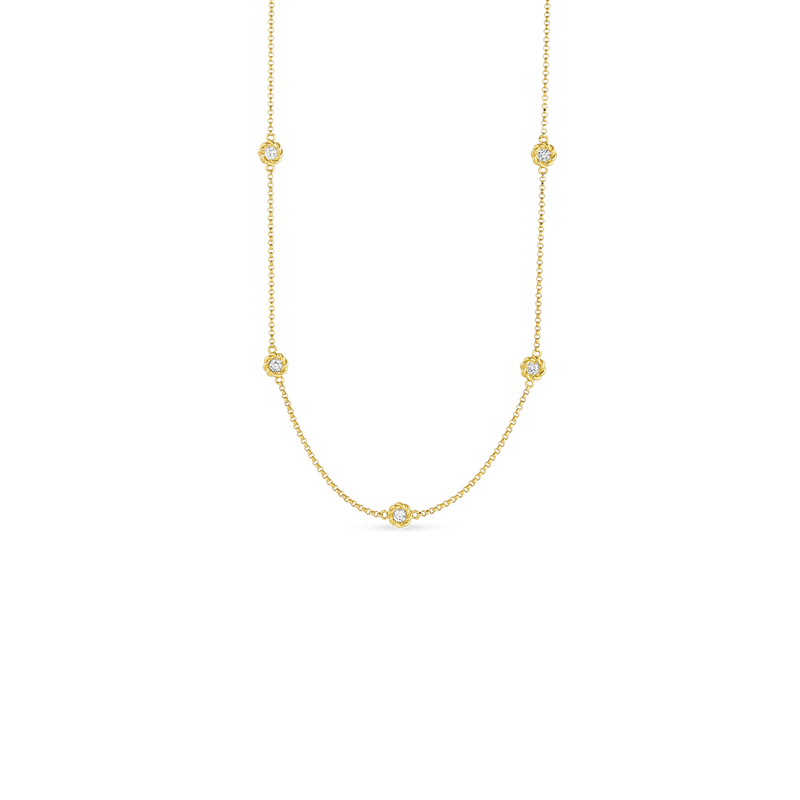 Roberto Coin 18Kt Gold Long Necklace With Alternating Diamond Stations