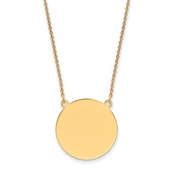 14k Plain .018 Gauge Circular Engravable Disc 18in Necklace