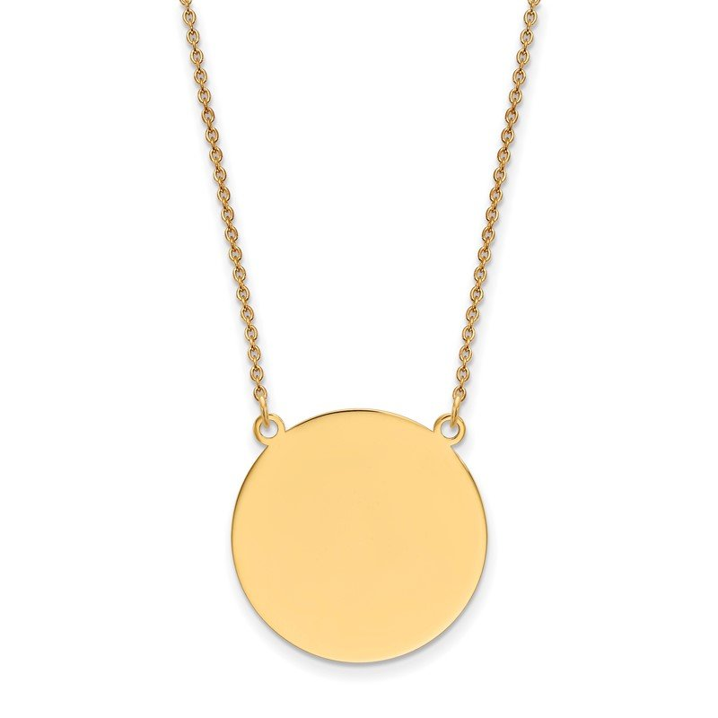 Quality Gold 14k Plain .018 Gauge Circular Engravable Disc 18in Necklace