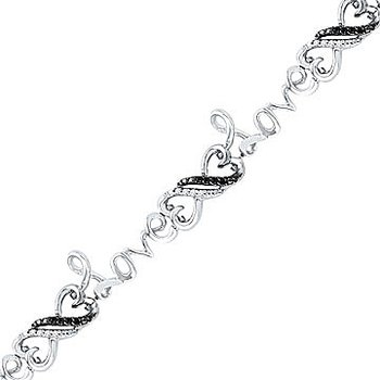 925 SS Black and White Diamond Meetings Heart and  'LOVE' Bracelet