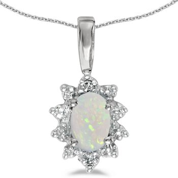 14k White Gold Oval Opal And Diamond Pendant