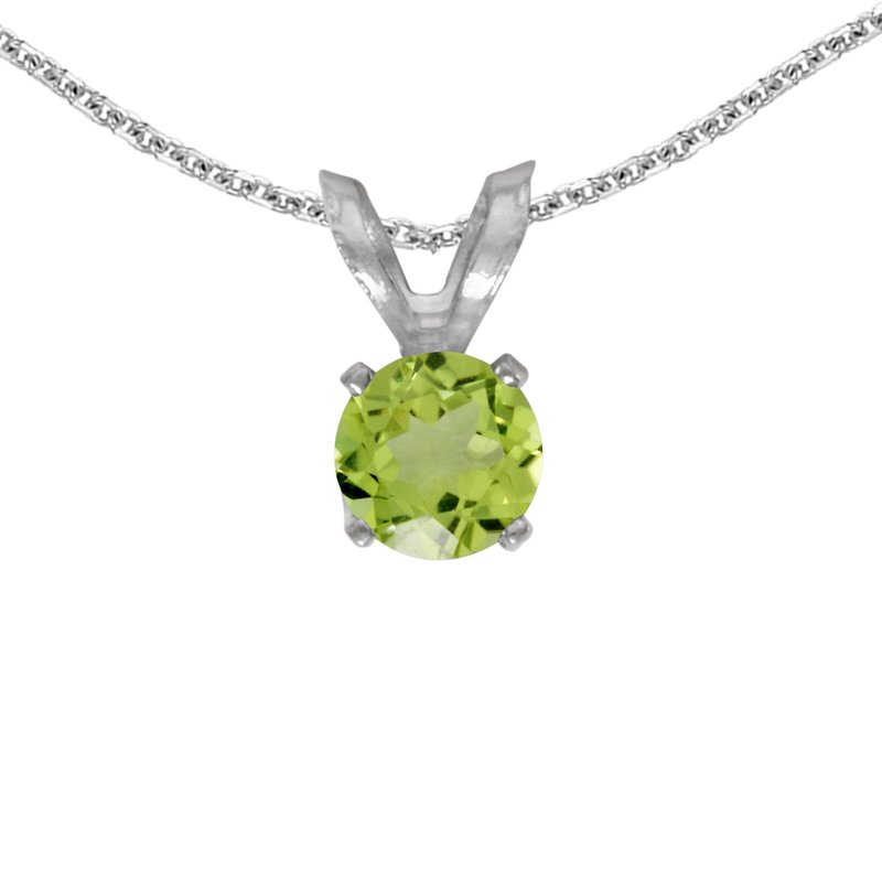 Color Merchants 14k White Gold Round Peridot Pendant