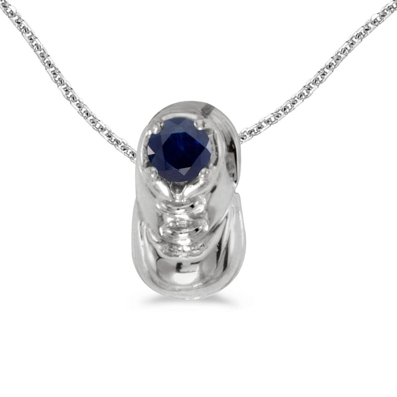 Color Merchants 10k White Gold Round Sapphire Baby Bootie Pendant