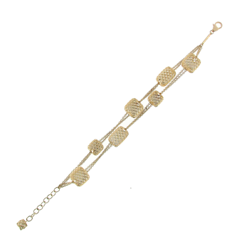 18KT YELLOW GOLD 2 ROW 8 SQUARE STATION BRACELET