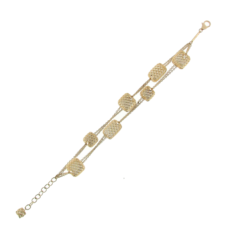 Roberto Coin 18KT YELLOW GOLD 2 ROW 8 SQUARE STATION BRACELET