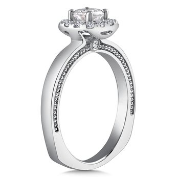 Diamond Halo Engagement Ring Mounting in 14K White Gold with Platinum Head (.18 ct. tw.)