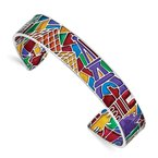 Sterling Silver Rhod-plated Mosaic Multi-color Enamel Paris Cuff Bangle