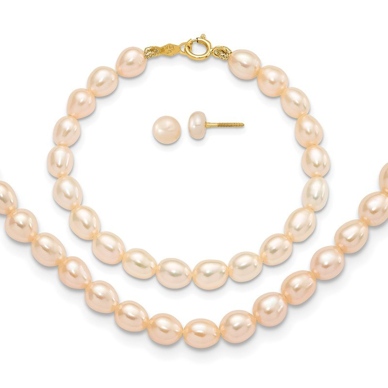 Quality Gold 14k Pink FW Cultured Pearl 12 Necklace, 5 Bracelet & Earring Set