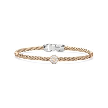Carnation Cable Essential Stackable Bracelet with Single Round Diamond station set in 18kt Rose Gold