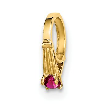 14K 3D Ring with Dark Pink CZ Charm