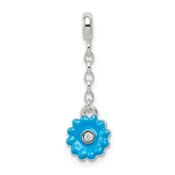 Sterling Silver Blue Enamel Flower w/ CZ 1/2in Dangle Enhancer