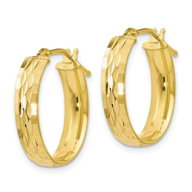 Leslie's Leslie's 10K Polished and D/C Oval Hinged Hoop Earrings