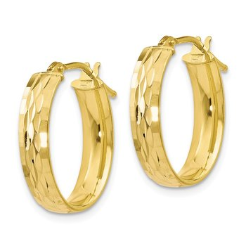 Leslie's 10K Polished and D/C Oval Hinged Hoop Earrings