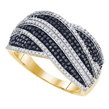10kt Yellow Gold Womens Round Black Color Enhanced Diamond Cocktail Ring 3/4 Cttw