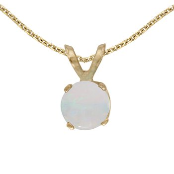 14k Yellow Gold Round Opal Pendant