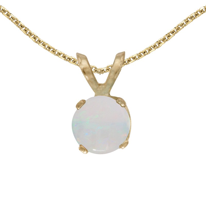 Color Merchants 14k Yellow Gold Round Opal Pendant