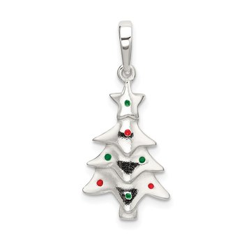 Sterling Silver Polished Enameled Christmas Tree Pendant
