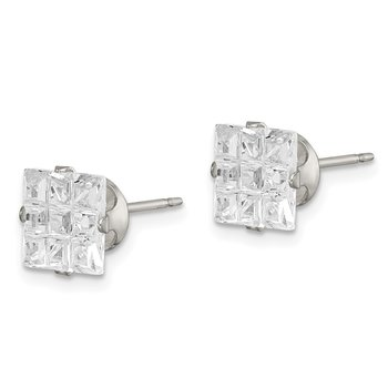 Sterling Silver 7mm Square Snap Set Laser-cut CZ Stud Earrings