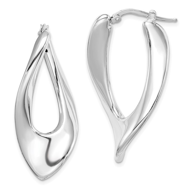 Quality Gold Sterling Silver Polished Rhodium Plated Hollow Twisted Hoop Earrings