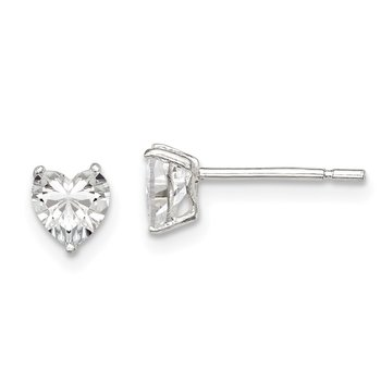 Sterling Silver 5mm Heart 3 Prong Basket Set CZ Stud Earrings