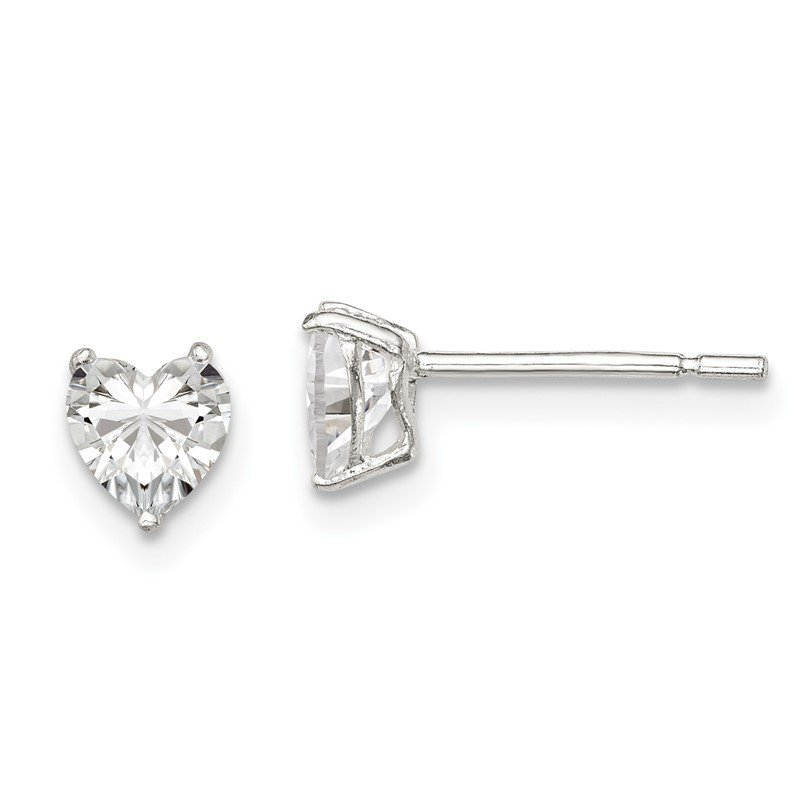 Quality Gold Sterling Silver 5mm Heart 3 Prong Basket Set CZ Stud Earrings