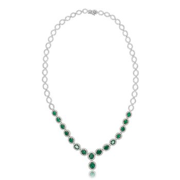 Emerald & Diamond Y Necklace