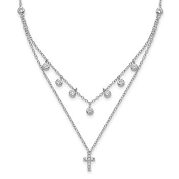Sterling Silver Rhodium-plated CZ Cross w/ 2in ext. Necklace