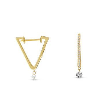 14K Yellow Gold Triangle Huggie Diamond Earrings