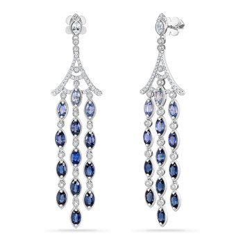 14K DROP EARRINGS WITH 82 BLUE SAPPHIRES 0.90CT & 36 DIAMONDS 0.23CT