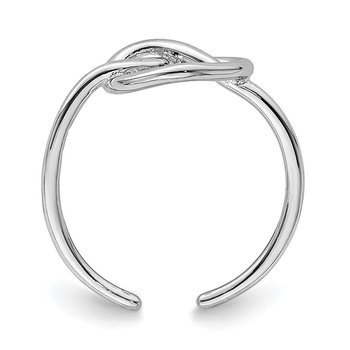 Sterling Silver Rhodium-plated Polished Heart Knot Toe Ring