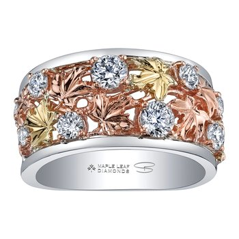 Maple Leaf Diamonds™ Autumn Falling Leaves Ring