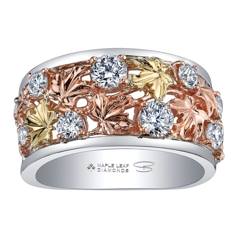 Timeless Beauty Maple Leaf Diamonds™ Autumn Falling Leaves Ring