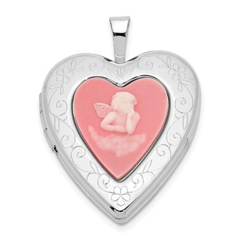 Sterling Silver Rhodium-plated 20mm Pink Agate Angel Cameo Locket