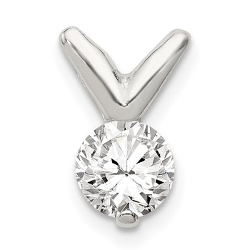 Sterling Silver CZ Pendant Chain Slide
