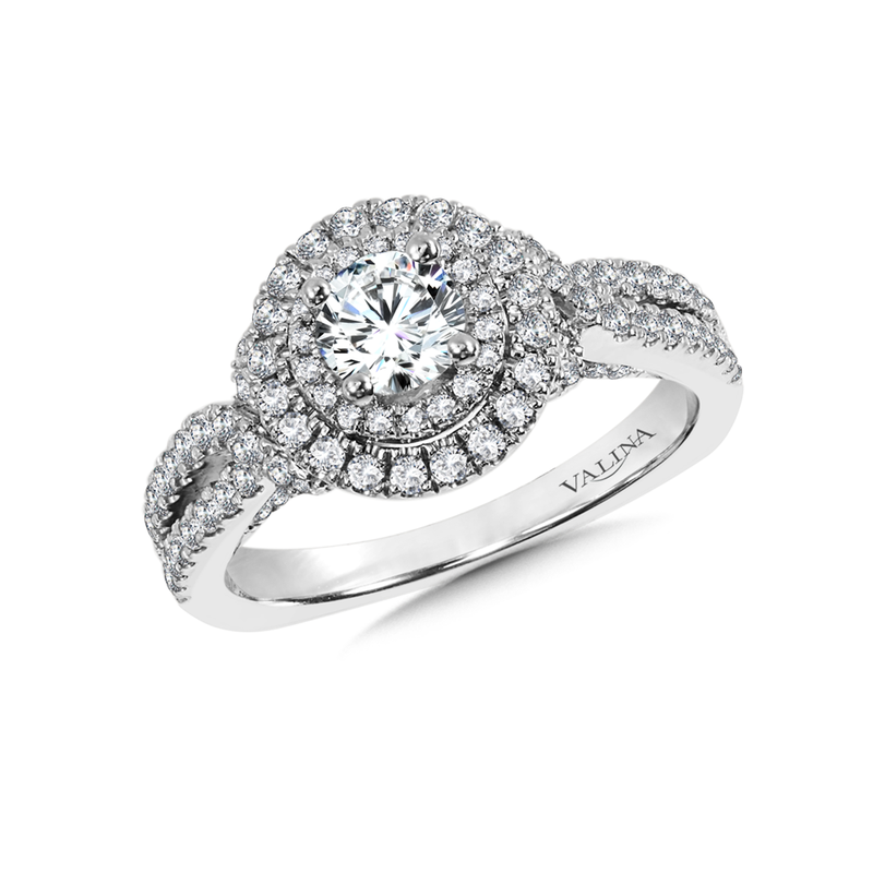 Valina Halo Engagement Ring Mounting in 14K White Gold (.79 ct. tw.)