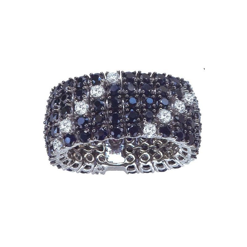 Roberto Coin 18Kt Gold Flex Ring With Black Sapphires And White Diamonds