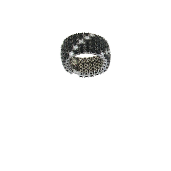 18Kt Gold Flex Ring With Black Sapphires And White Diamonds