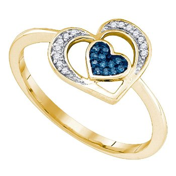 10kt Yellow Gold Womens Round Blue Color Enhanced Diamond Heart Love Ring 1/20 Cttw