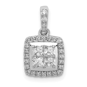 14k White Gold 1/3ct. Diamond Square Cluster Pendant