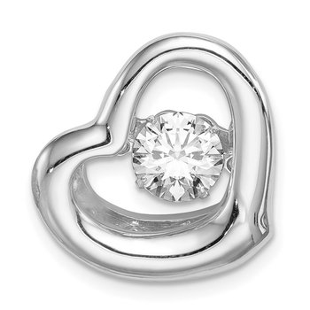 Sterling Silver Platinum-plate Swar Zirconia Vibrant CZ Heart Pendant
